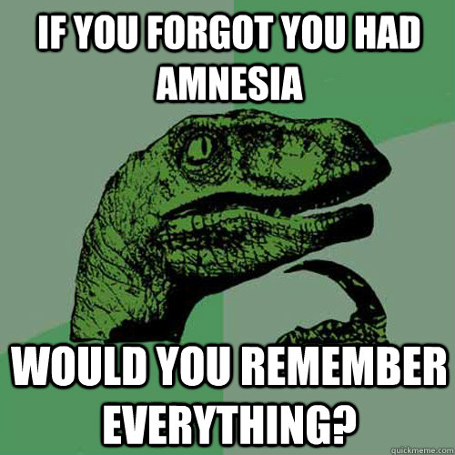 if you forgot you had amnesia would you remember everything? - if you forgot you had amnesia would you remember everything?  Philosoraptor