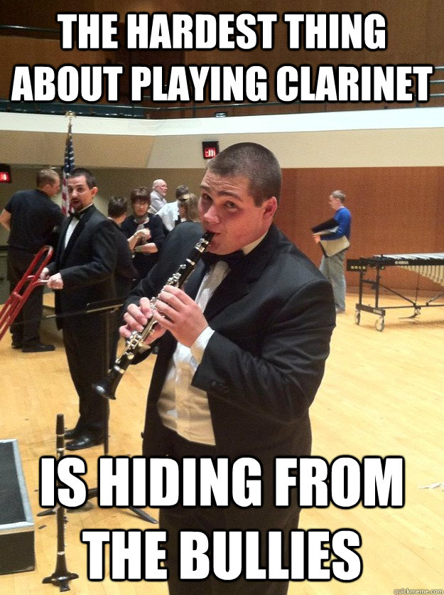 The hardest thing about playing clarinet is hiding from the bullies  Clarinet Problems