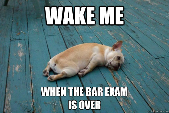 Wake me When the bar exam  is over