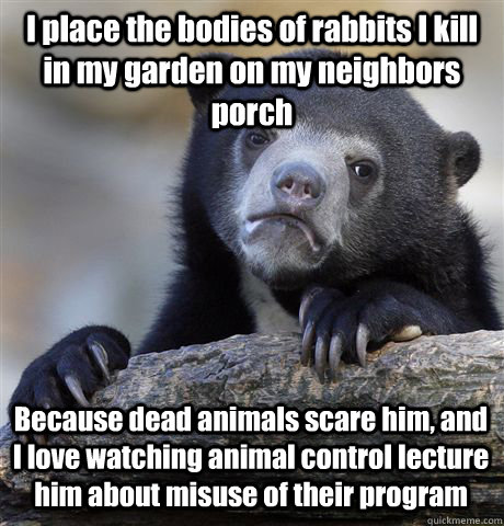 I place the bodies of rabbits I kill in my garden on my neighbors porch Because dead animals scare him, and I love watching animal control lecture him about misuse of their program - I place the bodies of rabbits I kill in my garden on my neighbors porch Because dead animals scare him, and I love watching animal control lecture him about misuse of their program  Confession Bear