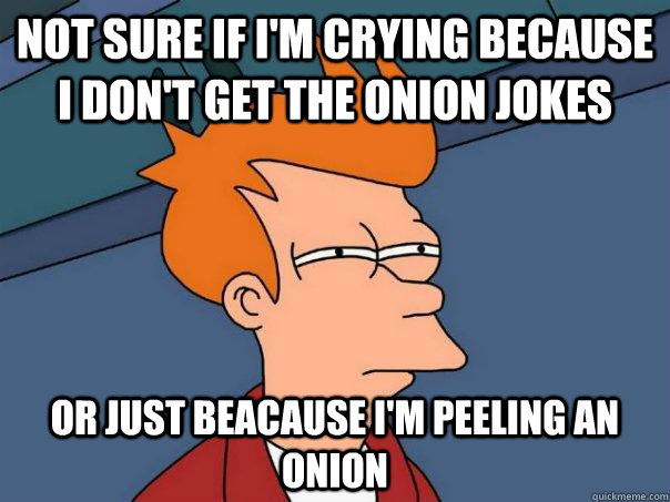 Not sure if I'm crying because I don't get the onion jokes Or just beacause I'm peeling an onion  Futurama Fry