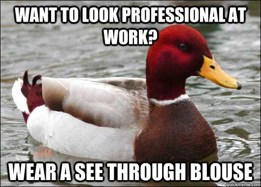 Want to look professional at work? Wear a see through blouse - Want to look professional at work? Wear a see through blouse  Malicious Advice Mallard