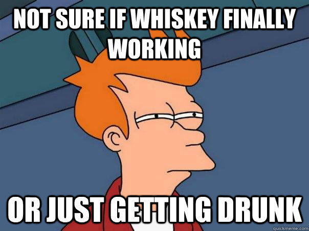 Not sure if whiskey finally working Or just getting drunk - Not sure if whiskey finally working Or just getting drunk  Futurama Fry