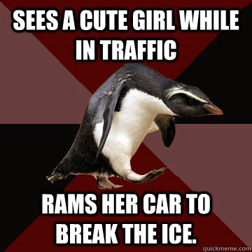 Sees a cute girl while in traffic Rams her car to break the ice.