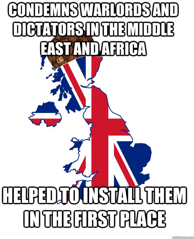 condemns warlords and dictators in the middle east and africa helped to install them in the first place