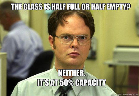 The glass is half full or half empty? Neither.   it's at 50% capacity - The glass is half full or half empty? Neither.   it's at 50% capacity  Schrute