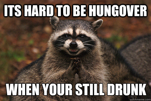ITS HARD TO BE HUNGOVER WHEN YOUR STILL DRUNK - ITS HARD TO BE HUNGOVER WHEN YOUR STILL DRUNK  Insidious Racoon 2