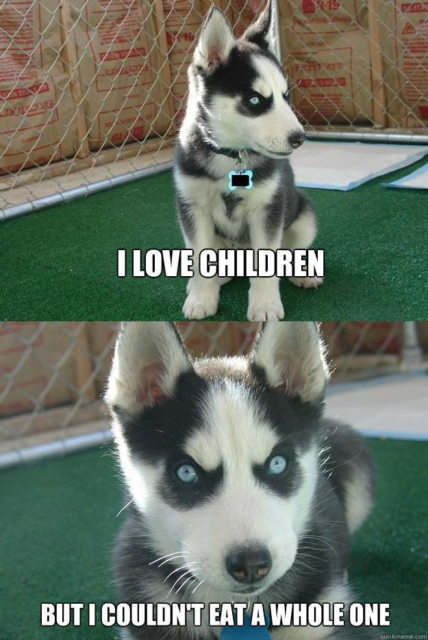 I love children But I couldn't eat a whole one  Insanity puppy