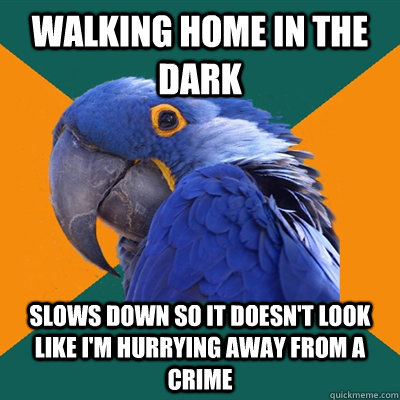 Walking home in the dark Slows down so it doesn't look like I'm hurrying away from a crime - Walking home in the dark Slows down so it doesn't look like I'm hurrying away from a crime  Paranoid Parrot