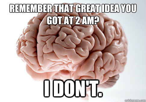 Remember that great idea you got at 2 AM?  I DON'T. - Remember that great idea you got at 2 AM?  I DON'T.  Scumbag Brain