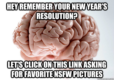 Hey remember your new year's resolution? Let's click on this link asking for favorite nsfw pictures - Hey remember your new year's resolution? Let's click on this link asking for favorite nsfw pictures  Scumbag Brain