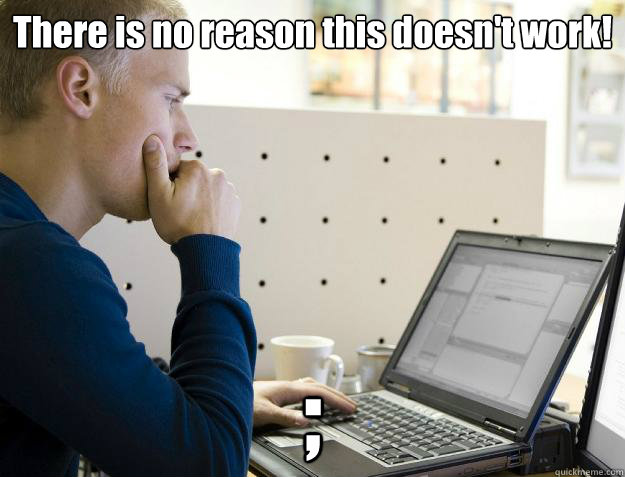 There is no reason this doesn't work! ;  Programmer
