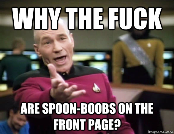 why the fuck are spoon-boobs on the front page? - why the fuck are spoon-boobs on the front page?  Annoyed Picard HD