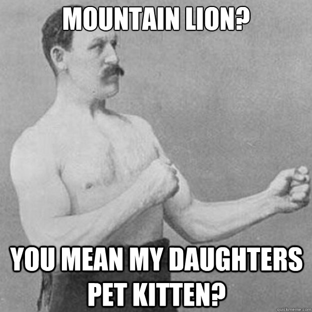 Mountain Lion?  You mean my daughters pet kitten?  - Mountain Lion?  You mean my daughters pet kitten?   overly manly man