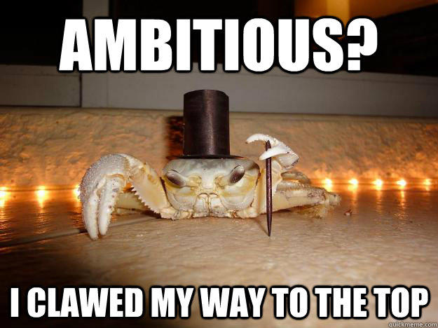 Ambitious? I clawed my way to the top - Ambitious? I clawed my way to the top  Fancy Crab