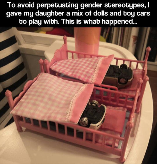 Dad does this to avoid gender stereotypes... See what happens!  -   Misc