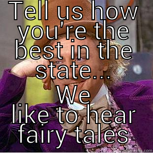 TELL US HOW YOU'RE THE BEST IN THE STATE... WE LIKE TO HEAR FAIRY TALES Condescending Wonka