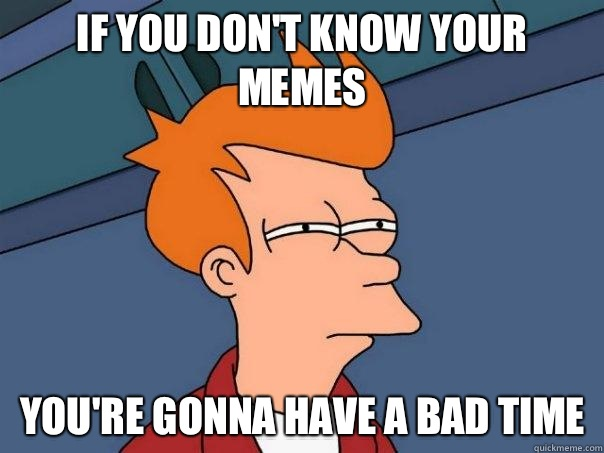 If you don't know your memes You're gonna have a bad time - If you don't know your memes You're gonna have a bad time  Futurama Fry