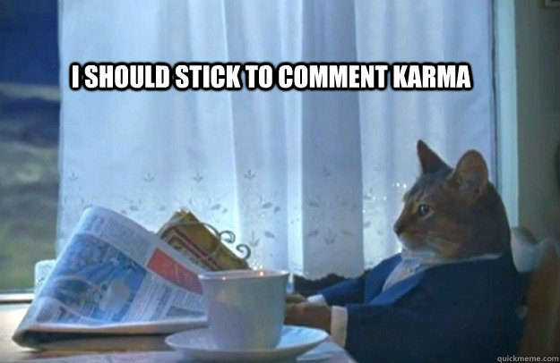 I should stick to comment karma - I should stick to comment karma  Sophisticated Cat