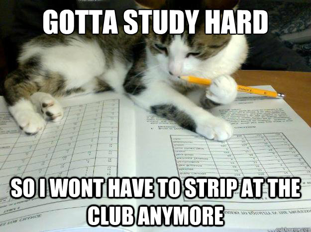Gotta study hard  so i wont have to strip at the club anymore