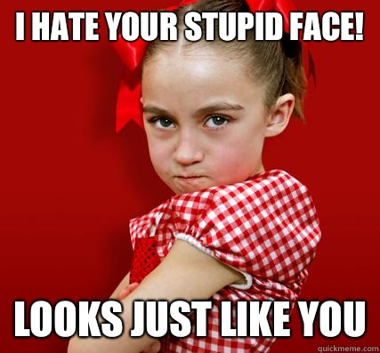 13cd156dfc51d4788203f7208fb48879b577ff63129e88e1218d3052e3f38db4 i hate your stupid face! looks just like you spoiled little,Your Stupid Meme