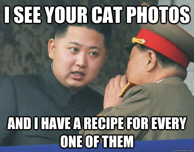 I SEE YOUR CAT PHOTOS AND I HAVE A RECIPE FOR EVERY ONE OF THEM - I SEE YOUR CAT PHOTOS AND I HAVE A RECIPE FOR EVERY ONE OF THEM  Hungry Kim Jong Un
