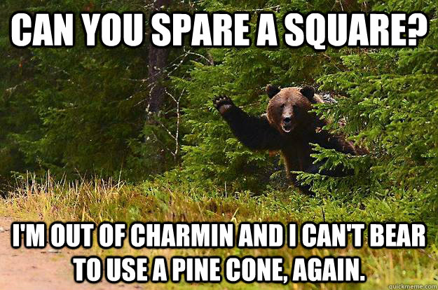 Can you spare a square? I'm out of charmin and i can't bear to use a pine cone, again.