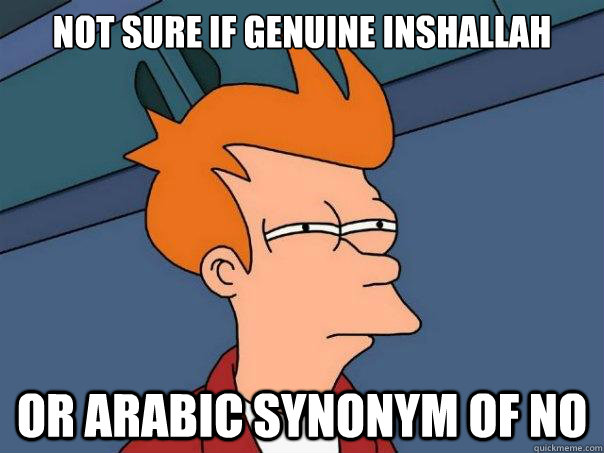 Not sure if genuine inshallah or arabic synonym of no - Not sure if genuine inshallah or arabic synonym of no  Futurama Fry