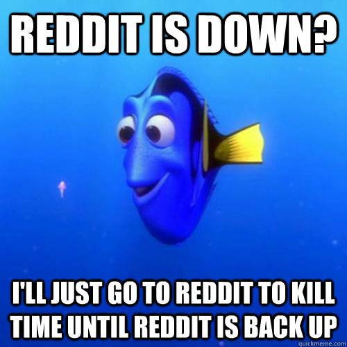 Reddit is down? I'll just go to reddit to kill time until reddit is back up - Reddit is down? I'll just go to reddit to kill time until reddit is back up  dory