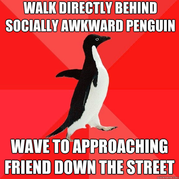 walk directly behind socially awkward penguin wave to approaching friend down the street - walk directly behind socially awkward penguin wave to approaching friend down the street  Socially Awesome Penguin