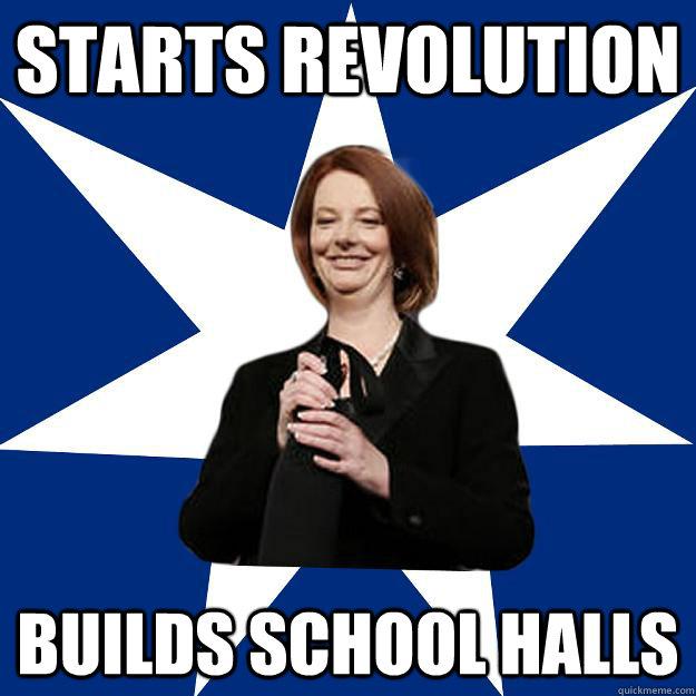 starts revolution builds school halls