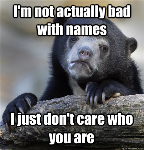 I'm not actually bad with names I just don't care who you are - I'm not actually bad with names I just don't care who you are  Confession Bear