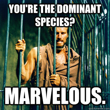 You're the dominant species? Marvelous. - You're the dominant species? Marvelous.  Unimpressed future slave