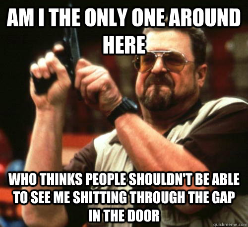 Am i the only one around here who thinks people shouldn't be able to see me shitting through the gap in the door - Am i the only one around here who thinks people shouldn't be able to see me shitting through the gap in the door  Am I The Only One Around Here