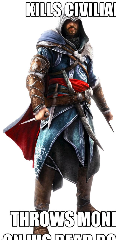 kills civilian throws money on his dead body  Assassins Creed Ezio