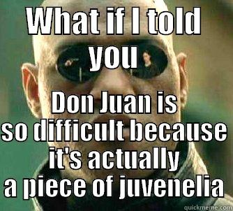 WHAT IF I TOLD YOU DON JUAN IS SO DIFFICULT BECAUSE IT'S ACTUALLY A PIECE OF JUVENELIA Matrix Morpheus
