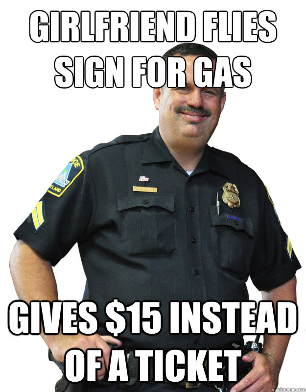 girlfriend flies sign for gas gives $15 instead of a ticket - girlfriend flies sign for gas gives $15 instead of a ticket  Good Guy Cop