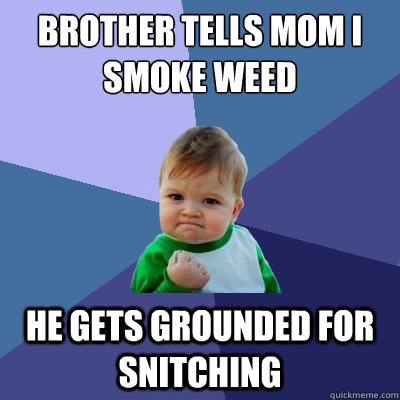 brother tells mom i smoke weed he gets grounded for snitching - brother tells mom i smoke weed he gets grounded for snitching  Success Kid