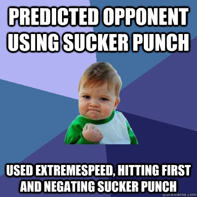 Predicted opponent using Sucker Punch used extremespeed, hitting first and negating sucker punch  Success Kid
