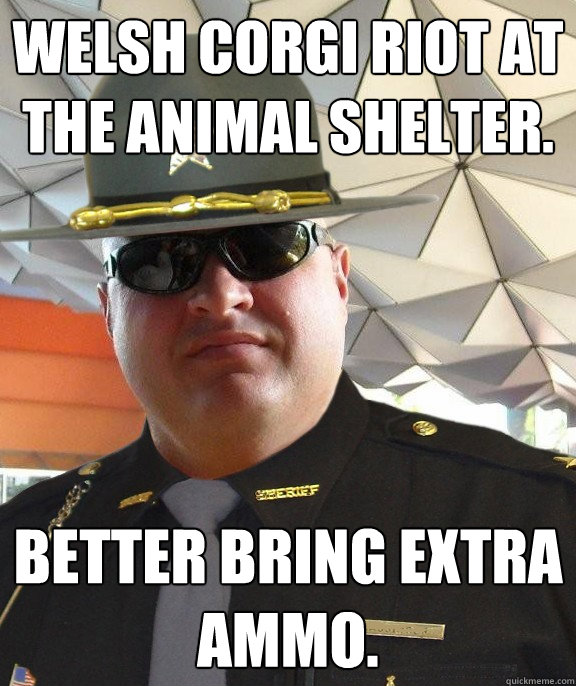 Welsh Corgi riot at the animal shelter. Better bring extra ammo.  Scumbag sheriff