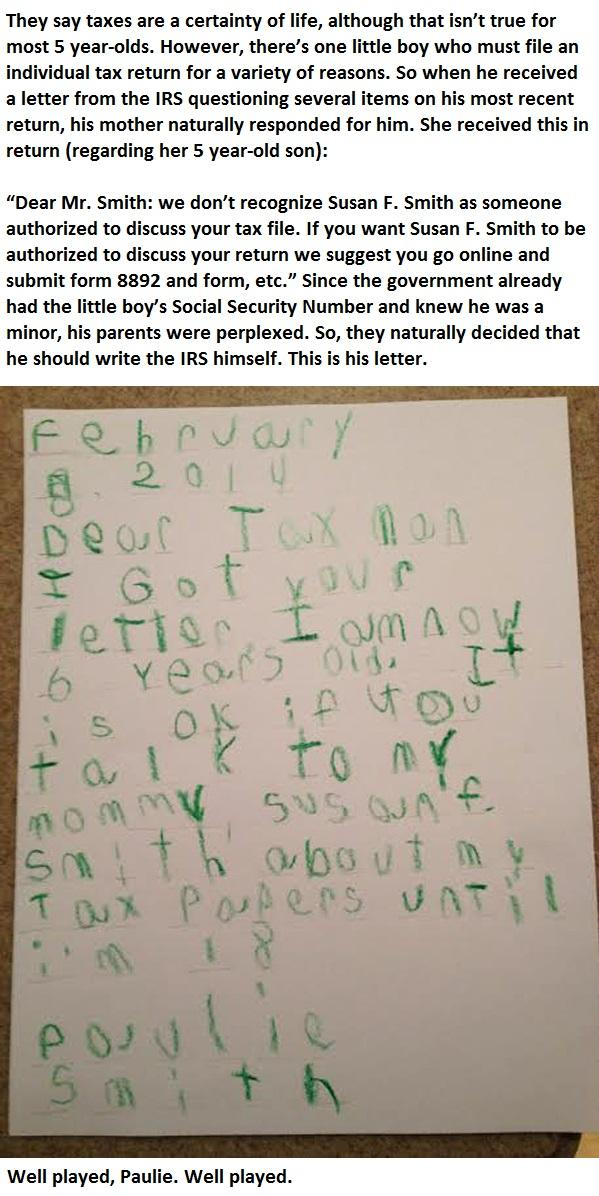 This Is A Little Boy's Response To The IRS... -   Misc