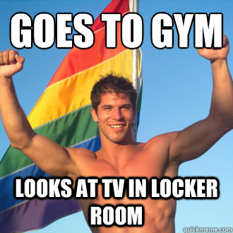 goes to gym looks at TV in locker room