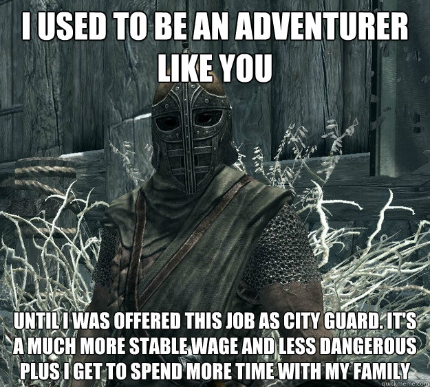 I used to be an adventurer like you until i was offered this job as city guard. it's a much more stable wage and less dangerous plus i get to spend more time with my family  Skyrim Guard