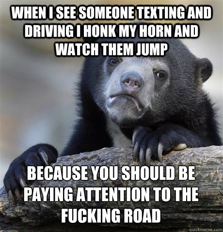 WHEN I SEE SOMEONE TEXTING AND DRIVING I HONK MY HORN AND WATCH THEM JUMP BECAUSE YOU SHOULD BE PAYING ATTENTION TO THE FUCKING ROAD - WHEN I SEE SOMEONE TEXTING AND DRIVING I HONK MY HORN AND WATCH THEM JUMP BECAUSE YOU SHOULD BE PAYING ATTENTION TO THE FUCKING ROAD  Confession Bear