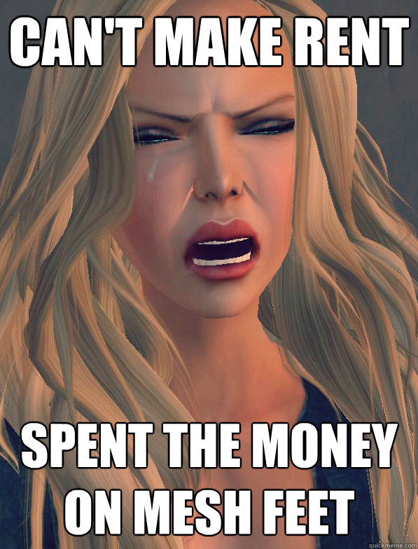 Can't make rent spent the money on mesh feet  secondlifeproblems