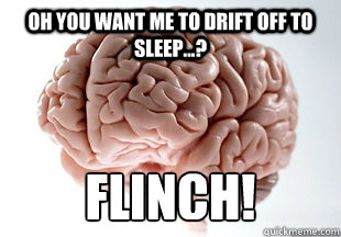 Oh you want me to drift off to sleep...? FLINCH!