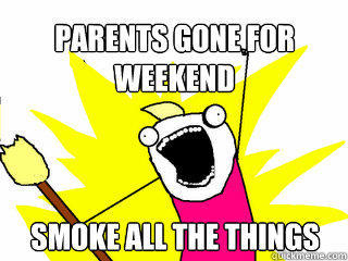 Parents gone for weekend Smoke all the things