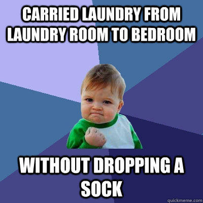 Carried laundry from laundry room to bedroom without dropping a sock - Carried laundry from laundry room to bedroom without dropping a sock  Success Kid