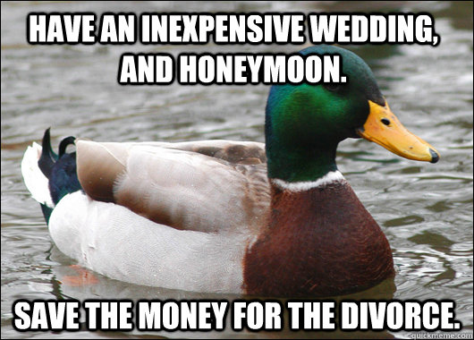 Have an inexpensive wedding, and honeymoon. Save the money for the divorce. - Have an inexpensive wedding, and honeymoon. Save the money for the divorce.  Actual Advice Mallard