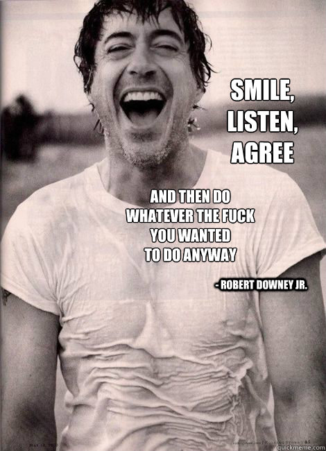 Smile, Listen, Agree  and then do whatever the Fuck you wanted to do anyway - Robert Downey Jr. - Smile, Listen, Agree  and then do whatever the Fuck you wanted to do anyway - Robert Downey Jr.  Words of Wisdom